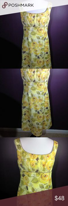 Beautiful Vintage cabi Spring 2007 Rose Dress EUC So Pretty! cabi ♥ Spring 2007 - Rose Dress #499 ♥ EUC, worn once. This color bursting yellow, green & brown tone dress will add sunshine to your next garden party or festival! ♥ Super feminine scoop neck style with empire waist! Soft cotton and even has a white cotton lining for more coverage! Perfect for work or play ♥   Fabric: 100% Cotton  Garment Care: Dry Clean   ♥ Please visit my closet again soon - downsizing my cabi collection! BUNDLE…