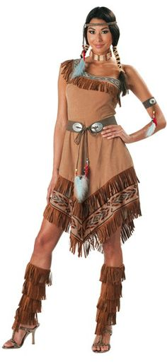 This sexy native Super Deluxe Indian Maiden Ladies Costume includes the dress with a one shoulder top and an angled hem that comes to the knee. Description from westosha.k12.wi.us. I searched for this on bing.com/images