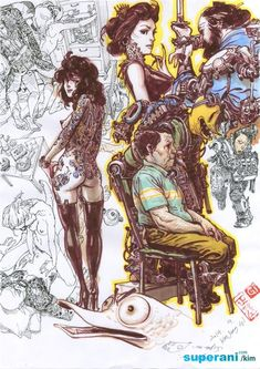 Character Sketches, Art Sketches, Character Art, Character Design, Comic Style Art, Comic Art, Detailed Drawings, Cool Drawings, Junggi Kim
