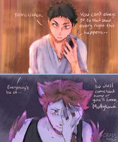 "An au where Oikawa is a smol and ""terrifying"" werewolf who howls at the morning sun. And Iwaizumi is a hunter who couldn't hunt down the tiny beast for obvious reasons (♥ω♥*) Oikawa X Iwaizumi, Kageyama X Hinata, Haikyuu Karasuno, Haikyuu Funny, Iwaoi, Haikyuu Ships, Haikyuu Fanart, Kagehina, Haikyuu Anime"