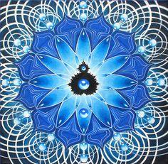 Seer and Seen.  Sacred Art painting by Kirsten Berg. Available at Ecoartopia.org and http://www.redbubble.com/people/ecoartopia/portfolio  Sacred. Spiritual. Goddess. Mother's day.  Mandala. Lotus. Throat Chakra. 5th Chakra. Burning Man. Water. Blue. Meditation. Yoga.