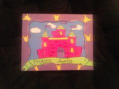 Hot Pink Princess Castle Handpainted Wall Art  FREE PERSONALIZATION by alliegirl97, $35.00