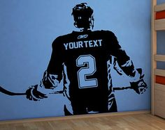 Wall art Custom Large ice Hockey Player choose jersey name and numbers Vinyl wall Decal sticker decor crosby toews kids bedroom sports bar Boys Hockey Room, Hockey Mom, Hockey Stuff, Hockey Crafts, Hockey Decor, Sports Wall Decals, Wall Stickers, Ice Hockey Players, Reno