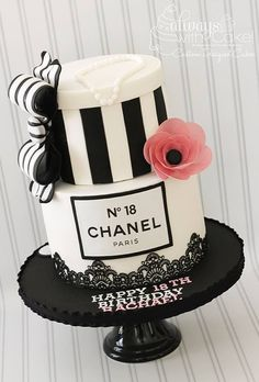 Chanel 18th Birthday Cake. Fondant bow, Cake Lace and Wafer Paper Flower.
