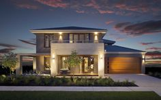 We have a range of new home designs with luxury inclusions and ultimate flexibility for families! Discover our new home designs in Melbourne at Metricon. Modern House Facades, Modern Architecture House, Modern House Plans, Modern House Design, Double Storey House Plans, Double Story House, Two Storey House, D House, Facade House