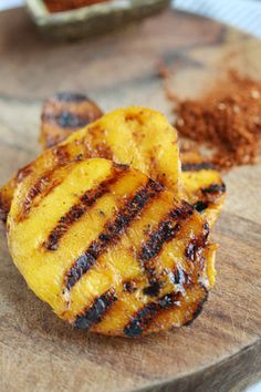 Grilled Mango with Balsamic Glaze | Skinny Chef.  A pinch of chili & a punch of balsamic make a sweet combo! #grilling #mango
