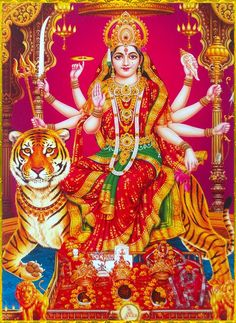 Goddess Durga seated on the back of a tiger - Hindu spiritual art Durga Picture, Maa Durga Photo, Maa Durga Image, Durga Images, Lakshmi Images, Indian Goddess, Goddess Lakshmi, Shiva Art, Shiva Shakti