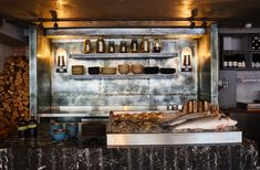 Timber furnishings and open-fire cooking warm up concrete interiors of St Leonards restaurant Open Kitchen Restaurant, Restaurant Bar, Bars In Shoreditch, Brunswick House, Open Fire Cooking, Concrete Interiors, Palette, Interiors Magazine, Bar Interior