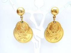 Coin Earrings Vintage Dangle Gold Tone by TheJewelryLadysStore