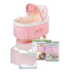 Summer Infant Soothe Sleep and SwaddleMe Newborn Bassinet with Sleep Solutions in Flowers and Bugs