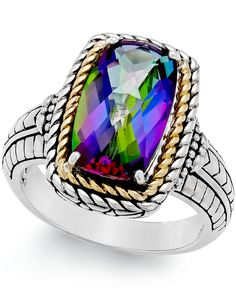 Mystic Quartz (4-1/4 ct. t.w.) Ring in Sterling Silver and 14k Gold