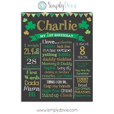 Patrick's Day First Birthday Chalkboard Poster of Favorite Things Printable, Birthday Chalkboard patricks day party flyer St. Patrick's Day First Birthday Chalkboard Poster of Favorite Things Printable, Birthday Chalkboard Sign - Shamrock First Birthday Board, First Birthday Posters, First Birthday Chalkboard, First Birthday Themes, 1st Boy Birthday, First Birthdays, Birthday Ideas, Chalkboard Poster, Chalkboard Printable
