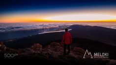 Summit of Mt Teide at sunrise (3719m) - Summit of Mt Teide at sunrise (3719m). It's the highest mountain in Spain.  The photo was taken 04 June 2016 with the first lights.  We climbed it in the night to have this great view.