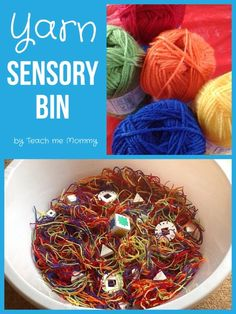 Ones and Twos: Sensory bin: Yarn - Teach Me Mommy Sensory Tubs, Sensory Activities Toddlers, Sensory Boxes, Activities For Adults, Infant Activities, Sensory Play, Therapy Activities, Preschool Activities, Toddler Art