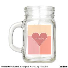 Heart Pattern custom monogram Mason jars Mason Jar