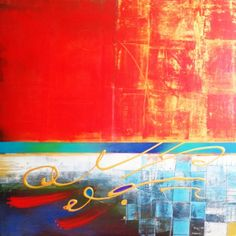 Red Layer Framed Art, Dan, Layers, Canvas, Artist, Unique, Painting, Design, Layering
