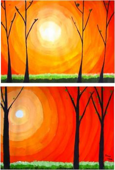 Tree and Sunset - Landscape art lesson for kids