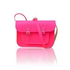 11-inch British Vintage Style Satchel hand-crafted from Neon Pink Leather. 85.00, via Etsy.