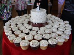 Small wedding cakes with cupcakes | Small wedding cake for a surprise home wedding. 6 inch WASC cake and ...