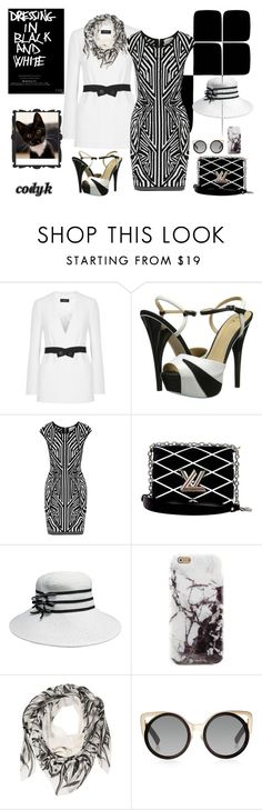 """""""Black & White"""" by cody-k ❤ liked on Polyvore featuring Joseph, gx by Gwen Stefani, Milly, Louis Vuitton, Alexander McQueen and Linda Farrow"""