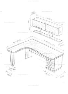 Corner table with a superstructure. Sketches and drawings of furniture from Creamondi. Office Table Design, Home Office Design, Home Office Decor, Home Decor, Corner Furniture, Home Furniture, Furniture Design, Study Room Decor, Room Setup