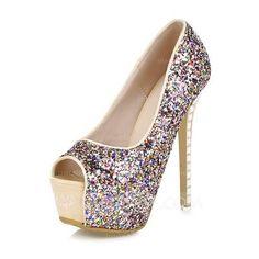 [US$ 38.99] Women's Sparkling Glitter Stiletto Heel Peep Toe Platform (047095383)