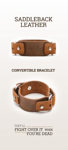 The Saddleback Leather Convertible Bracelet in Tobacco | 100 Year Warranty | $18.00