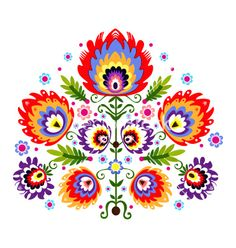 Folk embroidery flowers vector by Bridzia on VectorStock®
