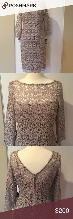 "Holiday Dress, by Marina Exquisite, Marina 2 piece dress.Slip under dress solid Taupe.Top Metallic""Lace"".Zipper in back of Top dress.Can be worn together or Taupe under dress alone.Beautiful!  NWT Non-smoking home.   would be great for Holiday 🎉 Marina Dresses Midi"