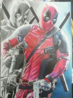 Deadpool colored pencils