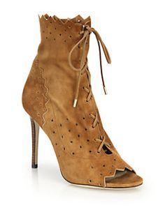 Jimmy Choo - Dei Cashmere Suede Laser-Cut Lace-Up Booties
