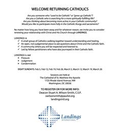 """""""Welcome Returning Catholics"""" - promotion for the Landings group at the Cathedral of St. Matthew the Apostle in Washington, D.C."""