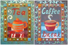 Acrylic painting instructions for Tea Time and Coffee Break paintings.