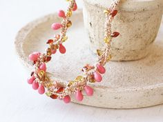 OOAK crochet necklace in coral pink amber by 100crochetnecklaces