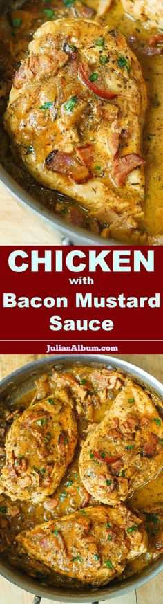 Chicken Breast in a Creamy Mustard Sauce with Bacon – an absolute comfort food, made in 30 minutes! Chicken Breast in a Creamy Mustard Sauce with Bacon – an absolute comfort food, made in 30 minutes! Turkey Recipes, Meat Recipes, Paleo Recipes, Dinner Recipes, Cooking Recipes, Recipies, Paleo Dinner, Recipes With Bacon, Atkins Recipes