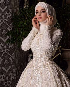 Image may contain: 2 people, people standing You will find different rumors about the real history of the marriage dress; Hijabi Wedding, Wedding Hijab Styles, Muslimah Wedding Dress, Hijab Style Dress, Muslim Brides, Muslim Dress, Pakistani Wedding Dresses, Wedding Attire, Bridal Dresses