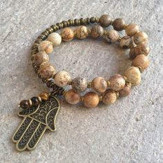 27 bead mala bracelet, made with genuine jasper, hand made brass African Trade…
