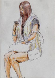 『山賊ベストのお姉さん(通勤電車でスケッチ)』 It is a sketch of the woman wearing the best hairy. I drew on the train going to work towards the company.