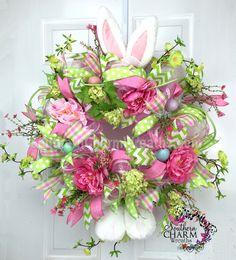 Deco Mesh Easter Bunny Wreath - Pink - Lime - Bunny Ears by… Easter Wreaths, Holiday Wreaths, Spring Wreaths, Wreath Crafts, Diy Wreath, Wreath Ideas, Diy Ostern, Easter Crafts, Easter Projects