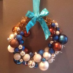 Blue-brown-silver wreath made by me :) with lights :)