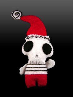 Skully Elf Ornament - Pocket sized Christmas mini doll by SWStitchery