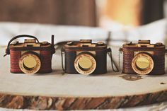 Wood and Leather Camera Necklace Aztec Red by StrangelyYours