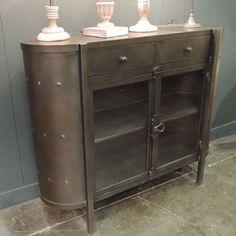 Buffet en métal noir 2 portes vitrées 2 tiroirs Chehoma