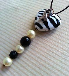 Zebra Heart EDS Awareness pendant with silver hope ribbon