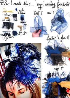 How to make a Royal Wedding Fascinator using a needle and thread, hair comb, tulle, sinamay trim, feathers and a glue gun. Easy and so many choices! How To Make Fascinators, Wedding Fascinators, Headpieces, Wedding Hats, Wedding Dress, Fascinator Diy, Fashion Diva Design, Kentucky Derby Hats, Diy Hat