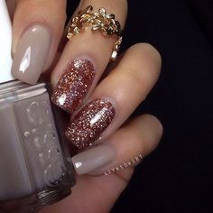 Gorgeous fall nail art nude and glitter #nails #fallnails