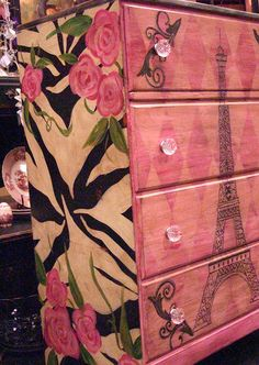 Hand Painted Furniture ~ Paris. I like the diamond pattern on the front