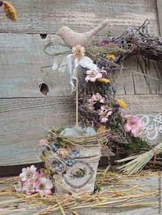 Подарки на Пасху ручной работы. Ярмарка Мастеров - ручная работа композиция на Пасху Птичка подарок к Пасхе с гнездом. Handmade.