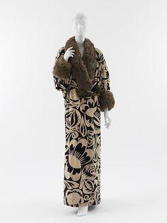 """La Perse"" (image 1)   House of Poiret   Textile designer: Raoul Dufy   French   1911   silk, metallic thread, fur   Metropolitan Museum of Art   Accession Number: 2005.199"