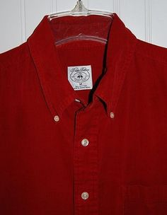 Brooks Brothers Sport Shirt Mens Medium M Corduroy Long Sleeve Button Front Red…